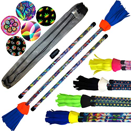 ART-Deco Flowerstick Set (5 Einzigartig Designs) inkl. Handstäbe mit 2 mm Ultra-Grip Silikon! Super Cool Flower Sticks Lunastix für Anfänger und Profis. (Graffiti)