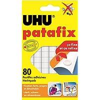 Uhu Patafix Pâte à Fixer Repositionnables et Prédécoupées Blanc, 80 Pastilles