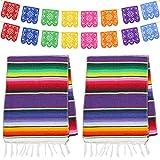 Dreamtop Lot de 2 chemins de Table mexicains 35,6 x 213,4 cm en Coton à Franges colorées avec 8 Couleurs 16 bannières de Picado pour fête Mexicaine Mariage Cuisine Extérieur