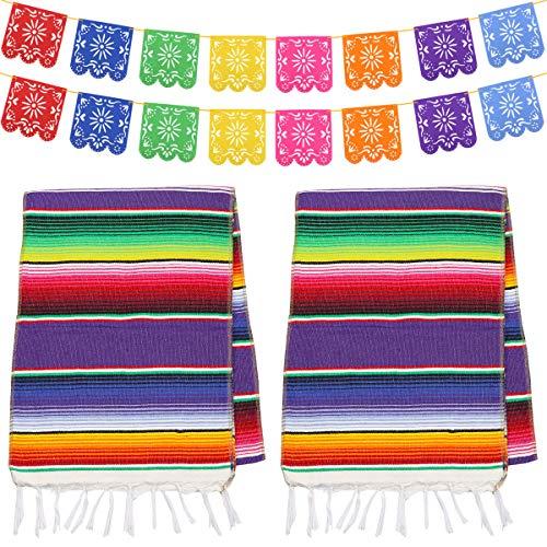 Dreamtop Mexikanischer Tischläufer aus Baumwolle, Bunte Fransen, Tischläufer mit 16 Picado-Bannern für mexikanische Party, Hochzeit, Küche, Outdoor, 2 Stück
