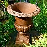 Antikas Pflanzgefäß aus Gusseisen | 24 cm x 33 cm x 31 cm | Plfanzkübel als französische Amphore für den Garten