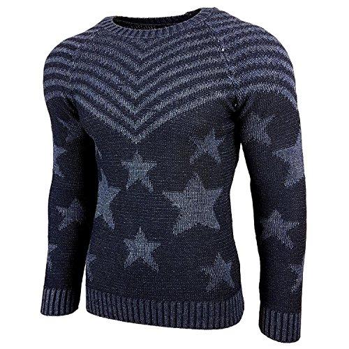 Subliminal Mode - Pull Over Star Homme Tricot SB-6263 Grosse Maille Bleu