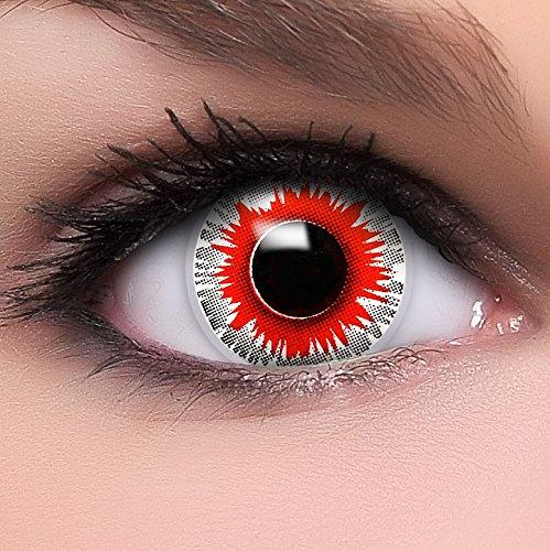 Farbige Kontaktlinsen 'Demonic' in rot & weiß, weich ohne Stärke, 2er Pack inkl. Behälter und 10ml Kombilösung - Top-Markenqualität, angenehm zu tragen und perfekt zu Halloween oder (Cat Kostüm Ghost Big)