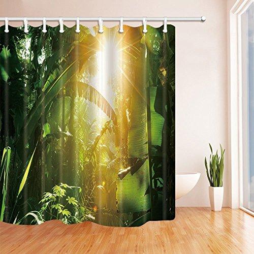 nyngei 3D Digital Druck tropischen Regenwald Decor Sunshine in Banana Leaves Jungle Polyester-Duschvorhänge-Wasserdicht Bad Vorhang 179,8x 179,8cm Duschvorhang Haken im Lieferumfang enthalten - Runde Rod Druck-vorhang