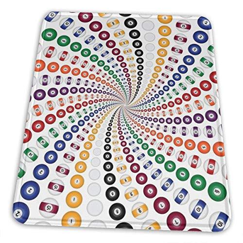 Billard Pool Balls Spiral Grand Antidérapant Tissu en Caoutchouc résistant à l'eau Jeu d'ordinateur Tapis de Souris Mignon Produits de Bureau (10 × 12 Pouces)