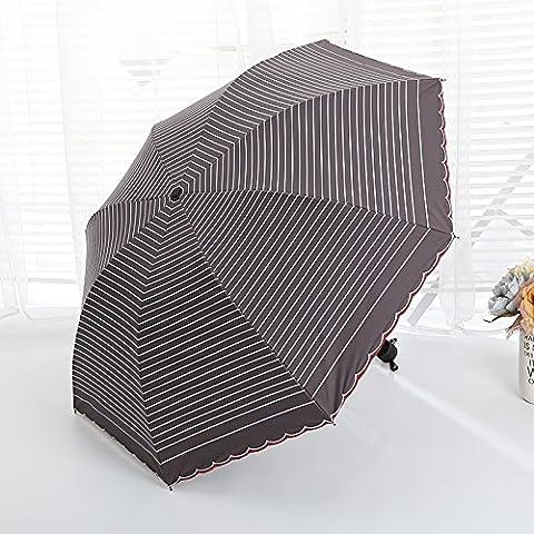 GUMO-Sun umbrella, folding umbrella, embroidery edges, stripes, sunscreen, UV protection,