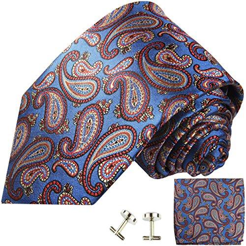 Cravate homme bleu rouge paisley ensemble de cravate 3 Pièces ( longueur 165cm )