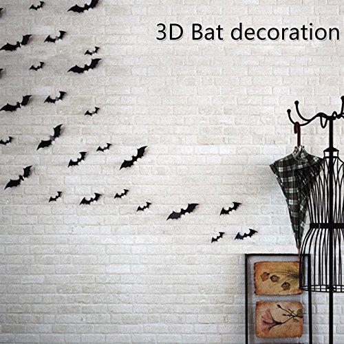 36pcs DIY Fledermaus Einbauöffnungen PVC 3D Halloween Party Supplies Wall Aufkleber Sticker Deko