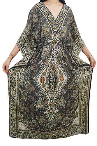 Indiatrendzs Women Dashiki Kaftans Light Viscose Kimono Kaftan Lounger Dress 56\ (Brown)