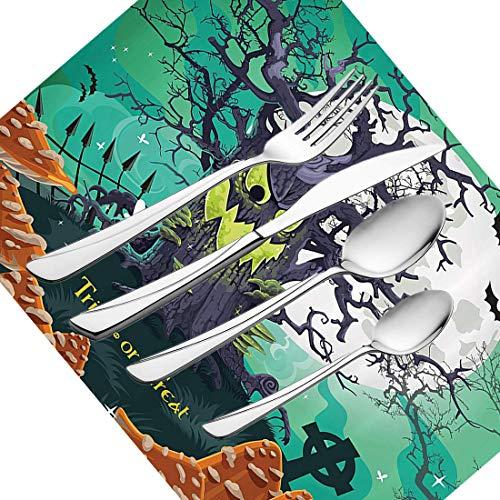30-teiliges Besteckset, Halloween-Geschirr Besteckset aus Edelstahl für 6 Personen, einschließlich Messer, Gabeln, Löffel, Teelöffel und Platzdeckchen, Süßes oder Saures Halloween-Motiv Dead Fores