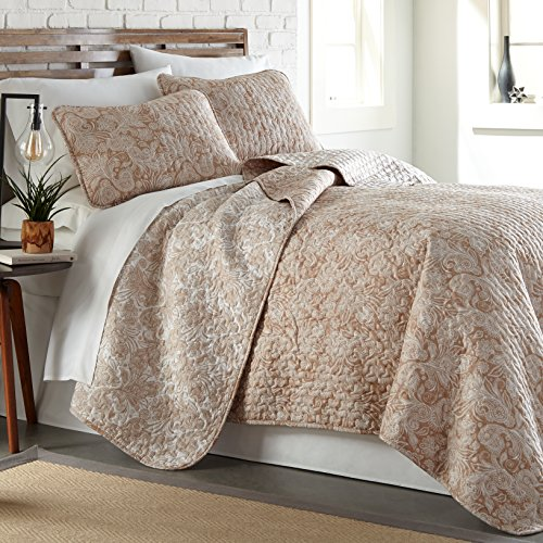 Feines Hemd southshore Linens Bedruckte Mikrofaser Quilt Sets Twin/Twin XL Paisley Taupe - Paisley Twin-set