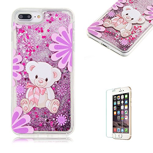 """Für iPhone 7 Plus 5.5"""" Durchsichtige Hülle,Für iPhone 7 Plus 5.5"""" Crystal Clear Flüssig Hülle Schutz Handy Case Hülle,Funyye Nette Kreative Komisch 3D Flüssigkeit Schutzhülle Bunten Muster Transparent Niedlichen Teddy"""