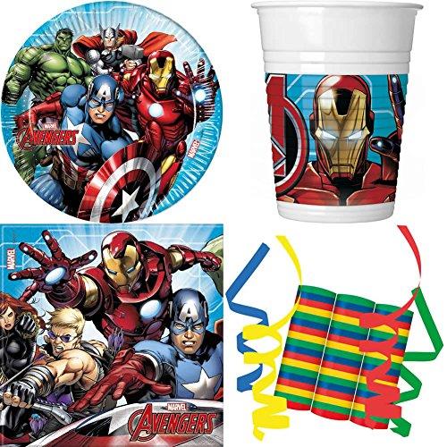 ty Avengers 39-teiliges Kindergeburtstag Party Deko Set Basis Motto Fete Feier 8 Teller, 8 Becher, 20 Servietten, 3 Rollen Luftschlangen ()