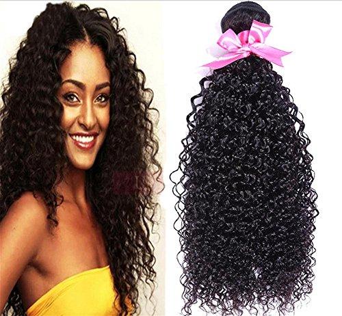 nky Curly Malaysia Haarwebart-Verlängerungen lockt Haar-Einschlagfaden 100% Menschenhaar-natürliche schwarze Farbe , 8 10 12 (Halloween-färbung Tischsets)