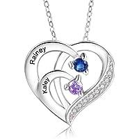 Personalisierte Namenskette Silber 925 Halskette Damen Herz Anhänger mit Namen Gravur Mutter Tochter Kette Geschenk für…