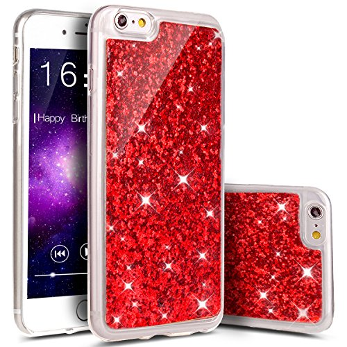 Coque iPhone 6S, iPhone 6S Coque en Silicone Glitter Bling Etui Housse, Ukayfe Bling Bling Gliter Sparkle Coque iPhone 6S Paillette Bling TPU Coque pour Apple iPhone 6/6S (4.7 pouces) Ultra Mince Pail rouge