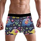 LJXTYJM Men's Boxer Briefs Cute Elephant Bird Floral Soft Short Underpants Underwear for Men Boys