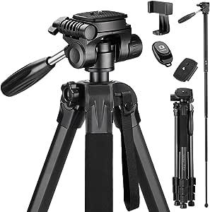 Victiv 182 cm Kamerastativ Aluminium Einbeinstativ T72 - Leicht und Kompakt Reisestativ für unterwegs mit 360° Panorama Kugelkopf und 2 Schnellwechselplatte für Spiegelreflexkamera - Schwarz