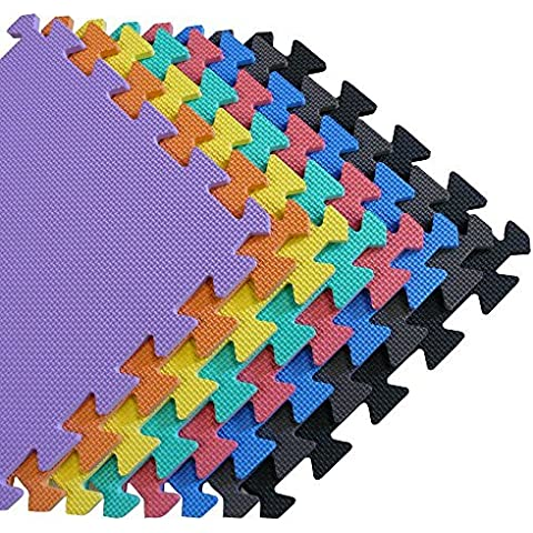 We Sell Mats - 1'x1' Blue 24 Squre Feet Foam Interlocking Anti-fatigue Kids Play Room Gym Soft Yoga Trade Show Basement Square Floor Tiles Borders Included - Several Colors to Choose From by We Sell
