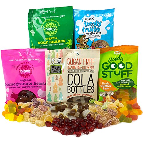 Preisvergleich Produktbild Vegane Süßigkeiten-Paket mit 5 Tüten mit gelatinefreien Süßigkeiten