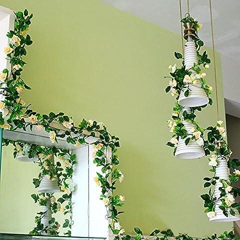 Weksi Faux Soie Fleur Vert Feuille vigne rose artificielle pour décoration maison mariage jardin
