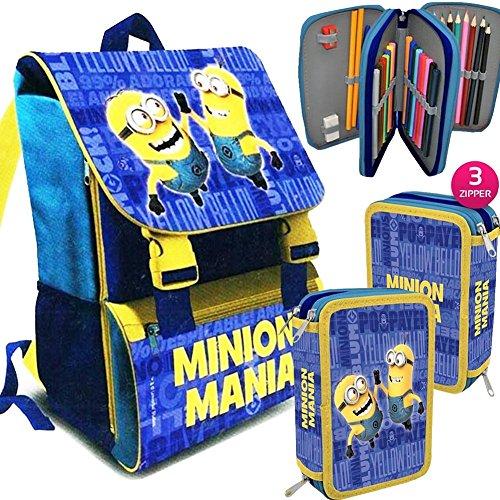 Kit scuola school promo pack zaino estensibile + astuccio 3 zip accessoriato minions mania edizione 2016-2017 + omaggio papermate kit evidenziatori