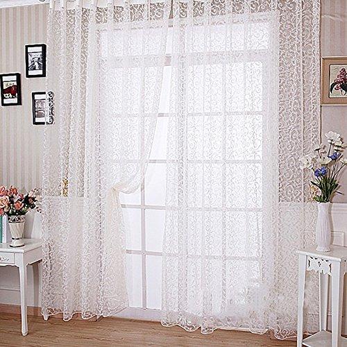 Beflockung Floral bedruckt Sheer Wand Raumteiler Vorhang Home Decor Bildschirm Vorhang Fashion Mix Schlafzimmer Panel Drapes, weiß, 100cm x 200cm (Drei-panel-bildschirm)