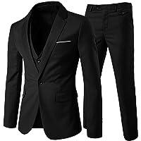 Mens Suits 3 Piece Slim Fit Wedding Suit One Button Formal Blazer Jackets Waistcoat Trousers