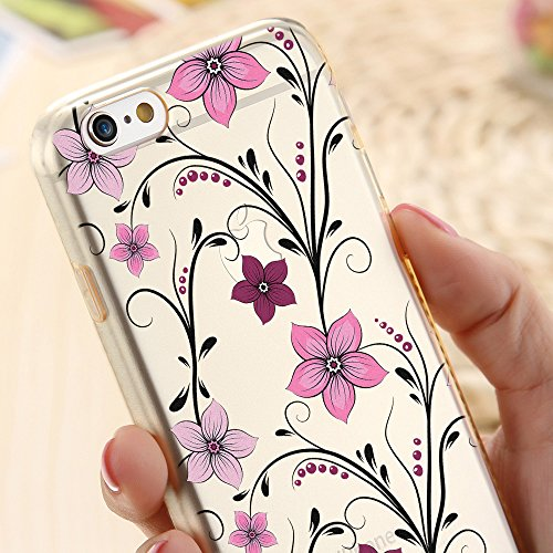 OOH!COLOR® Design Case für iPhone 7 mit Motiv MPA147 weiß Punkte modisch stilvoll Silikon Hülle elastisch Schutzhülle Transparent Case Luxus Cover Slim Etui ROZ003 Rose Blumen