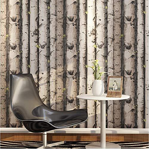 Bäume Stapel Vintage natürliche rustikale gemaserte Wirkung Holz Tree Panel Plank Vinyl 3D Wallpaper Tapete Color_3_5.3㎡ -