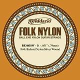 D\'Addario Corde seule en nylon pour guitare folk D\'Addario BES031W, filet en argent, extrémité à boule, .031