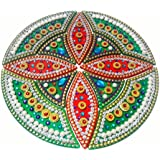 Handcrafted Decorative Diwali Rangoli Set – Multicolor Jewel Stone/ Kundan Decorations On Green And Red Acrylic Base – 12 Piece Set - For Home Décor