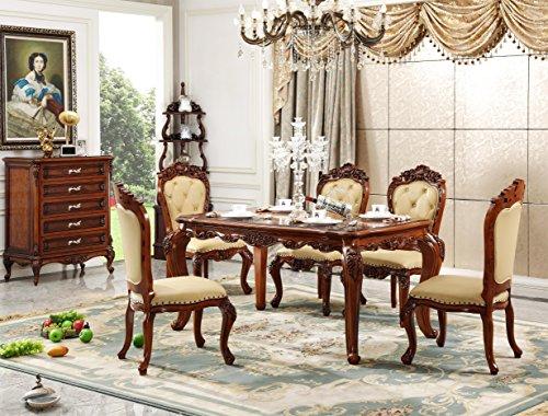 Sechs Esszimmer Stühle (Ma Xiaoying Esszimmer Sets Enthalten One Tisch und sechs Stühle (2Sessel 4sidechairs) (Tisch + 4Stühle), Holz, Table+6Chairs(2armchairs+4sidechairs))