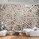 decomonkey   Fototapete Mandala 250x175 cm XL   Tapete   Wandbild   Wandbild   Bild   Fototapeten   Tapeten   Wandtapete   Wanddeko   Wandtapete   Steinwand Orient Muster weiß braun