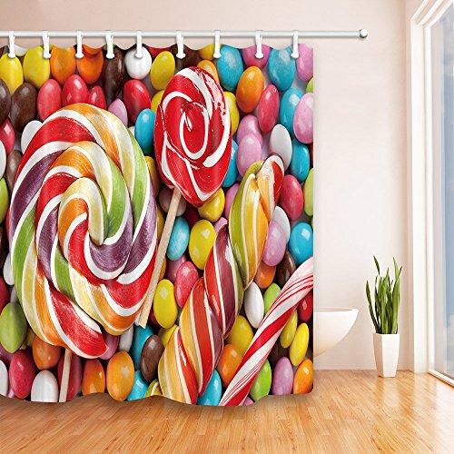 AdaCrazy Multicolor Candy Twist 71X71 Zoll Mehltau Resistant Polyester Stoff Duschvorhang Set Fantastische Dekorationen Bad Vorhang - Cotton Candy Twist