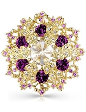 Swarovski Elements Kristall Brosche - Weihnachtsgeschenk - Gold Lila Silber Kristalle Vergoldete Bernstein Brosche...