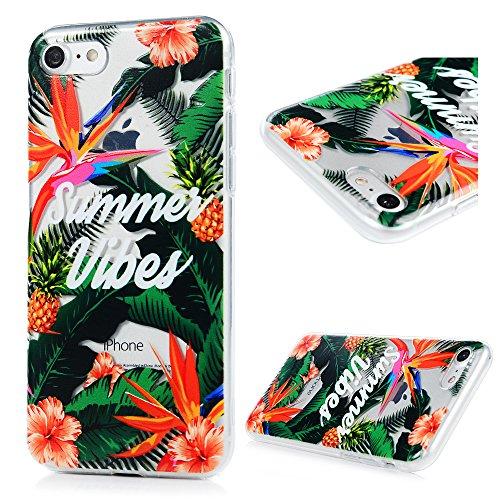 iPhone 7 Funda TPU Silicona Suave Ultra Delgada Transparente,YOKIRIN Carcasa Pintada Cubierta Dibujos Case para iPhone 7 4.7 Pulgadas Completa Protección para Choques - Flor 2