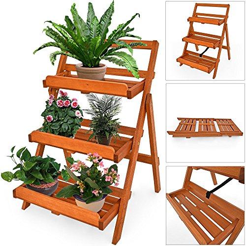 Blumenregal Blumentreppe Blumenständer Blumenleiter Pflanzentreppe Pflanzenständer Akazie Holz