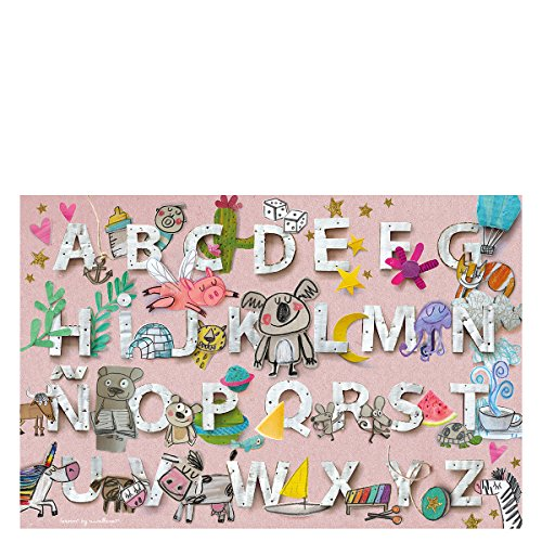 Laroom 14274 Alfombra Vinílica Infantil Diseño Abecedario, Vinilo Antiliscante, Rosa, 100x133 cm