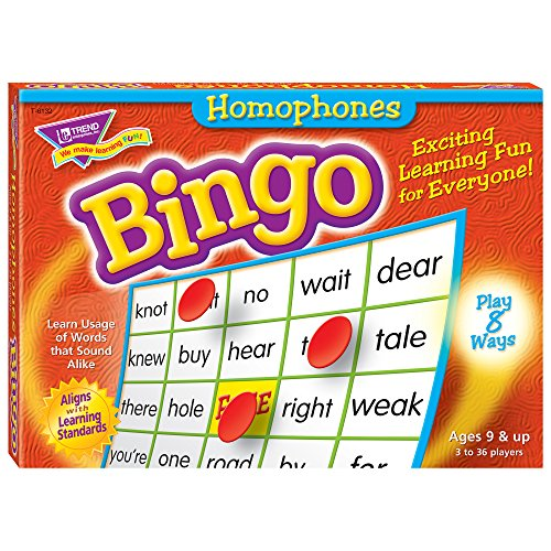 Trend Enterprises Inc t-6132 homophone Bingo Spiel, Multi, 5 l x 5 W in