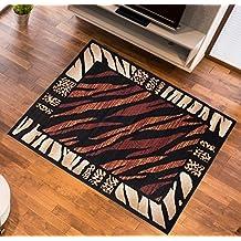 Alfombra De Salón Y Pasillo Moderna – Color Negro Marrón De Diseño Piel De Animales – Suave – Fácil De Limpiar – Top Precio – Diferentes Dimensiones S-XXXL 70 x 130 cm