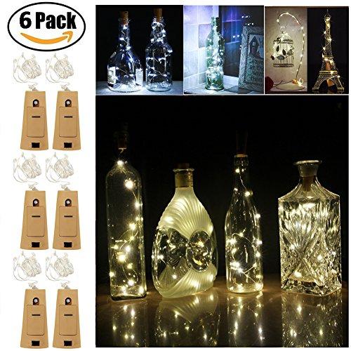 Flaschenlicht, 6 Stück 1m 20 LED Kupferdraht Lichter String Starry LED Lichter für Flasche DIY, Party, Dekor, Weihnachten, Halloween, Hochzeit oder Stimmung Lichter (Weiß) (Dekorative Blenden Sie Eine Taste)