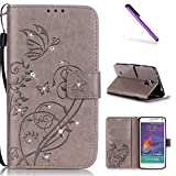 EMAXELERS Galaxy Note 4 Wallet Case,Bling Crystal Diamond