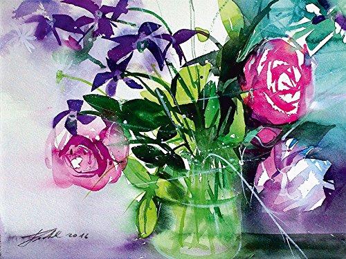 lder I Wandtattoo Wandsticker Wandaufkleber 40 x 30 cm Stillleben Vasen Töpfe Malerei Lila D6YX Blumenstrauss in Glasvase ()