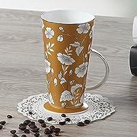 KHSKX Cucchiaio in ceramica di grande capacità coppa dell'acqua mug tazza da caffè latte creative giovane Cup,marrone