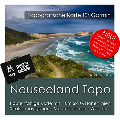 Neuseeland Garmin Karte TOPO 4 GB microSD. Topografische GPS Freizeitkarte für Fahrrad Wandern Touren Trekking Geocaching & Outdoor. Navigationsgeräte, PC & MAC - Karte Sd Garmin
