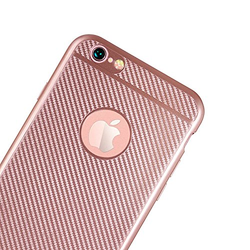 Hülle Für iPhone 6S [Non-Slip], Vandot [Wärmeableitung] Premium Bumper Fall mit breathable Air-Mesh Schock Absorption Drop Protection Case Hybrid Snap-on Starr PC Hard Back Cover Case für iPhone 6S Ha Carbon Fiber Rose Gold