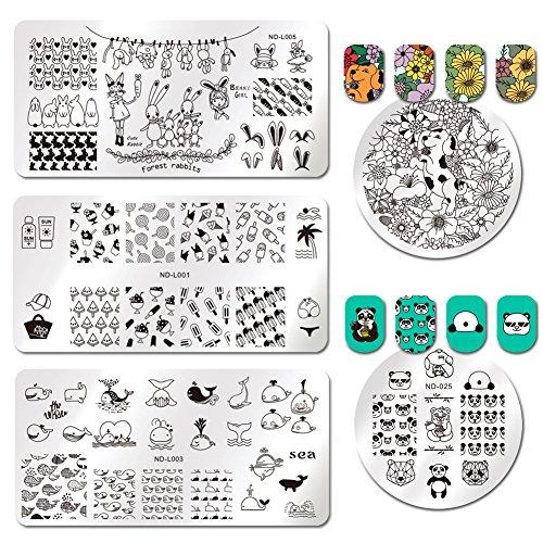 NICOLE DIARY 5 pièces Emboutissage modèle Panda Lunettes de soleil crème glacée Cocotier sucettes fleur chien Chrysanthème manucure Nail Art Plate Image manucure Modèle Outils Nail Art