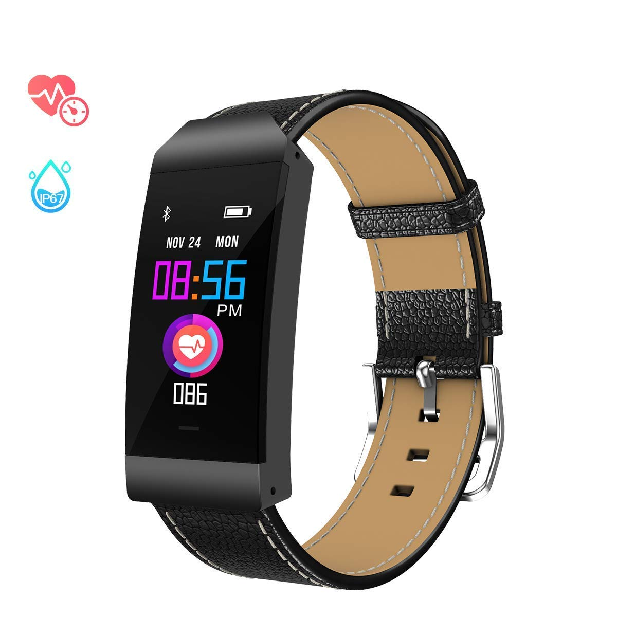 Fitness Tracker for women Sports Smartwatch with Heart Rate Monitor Waterproof IP67 Slim Leather Strap Fitness Watch Bluetooth Pedometer with Sleep Monitor Calorie Counter Smartwatch for iOS Android