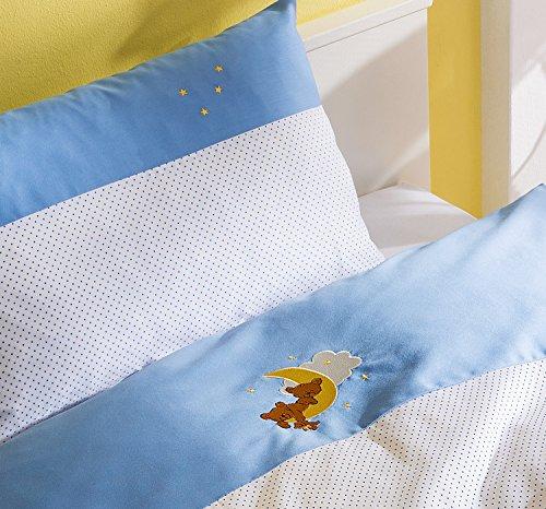 Mako Satin Kinder Bettwäsche Mond Bär 100x135 + 40x60 cm Blau, 100% Baumwolle mit Bärchen Stickerei für Jungen (Bettbezug Vollständige)